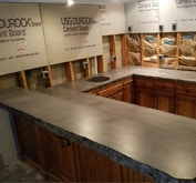 small cutout of concrete counter top