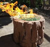 small cutout of concrete firepit