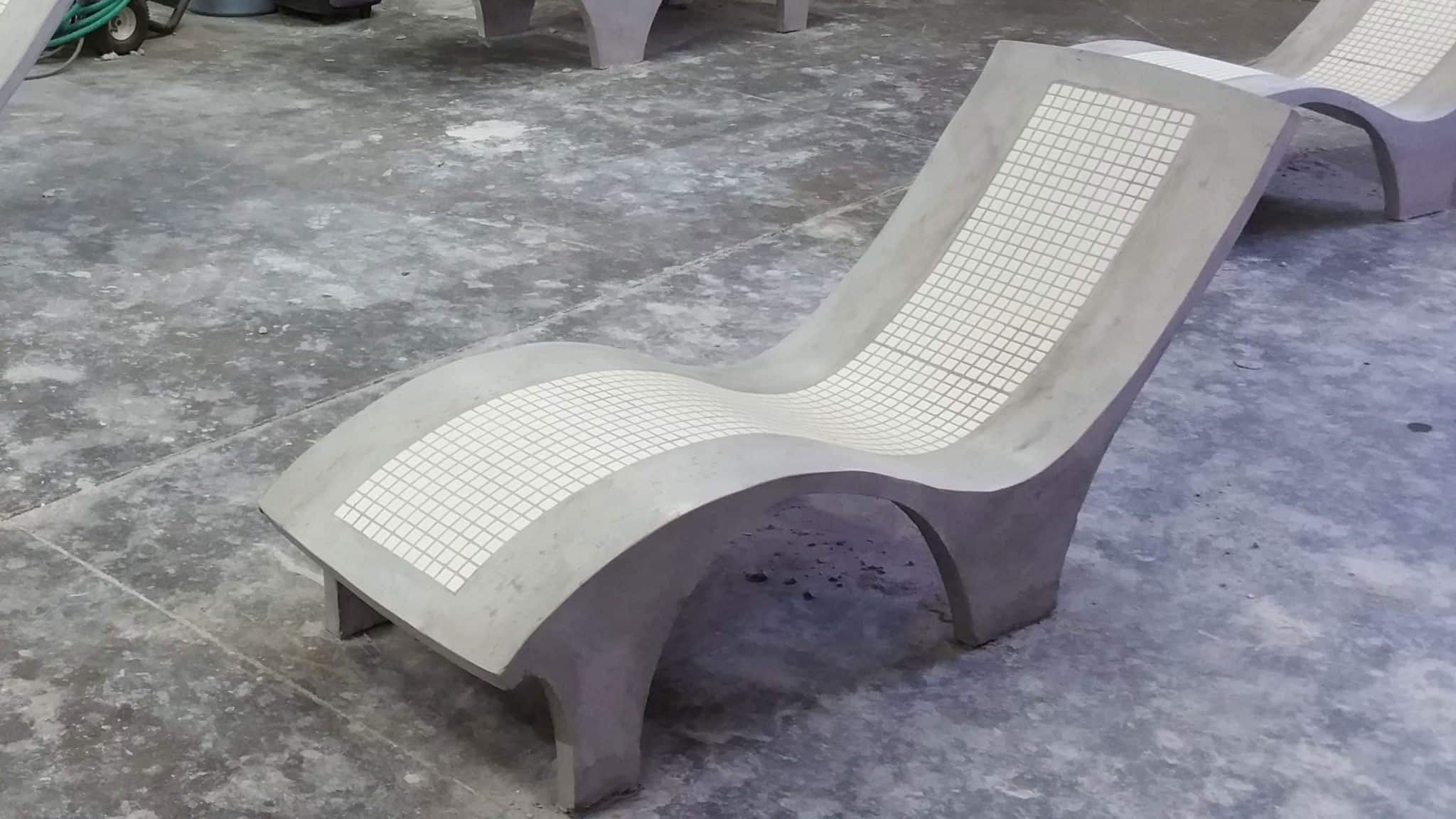 concrete patio chair with tile inlay