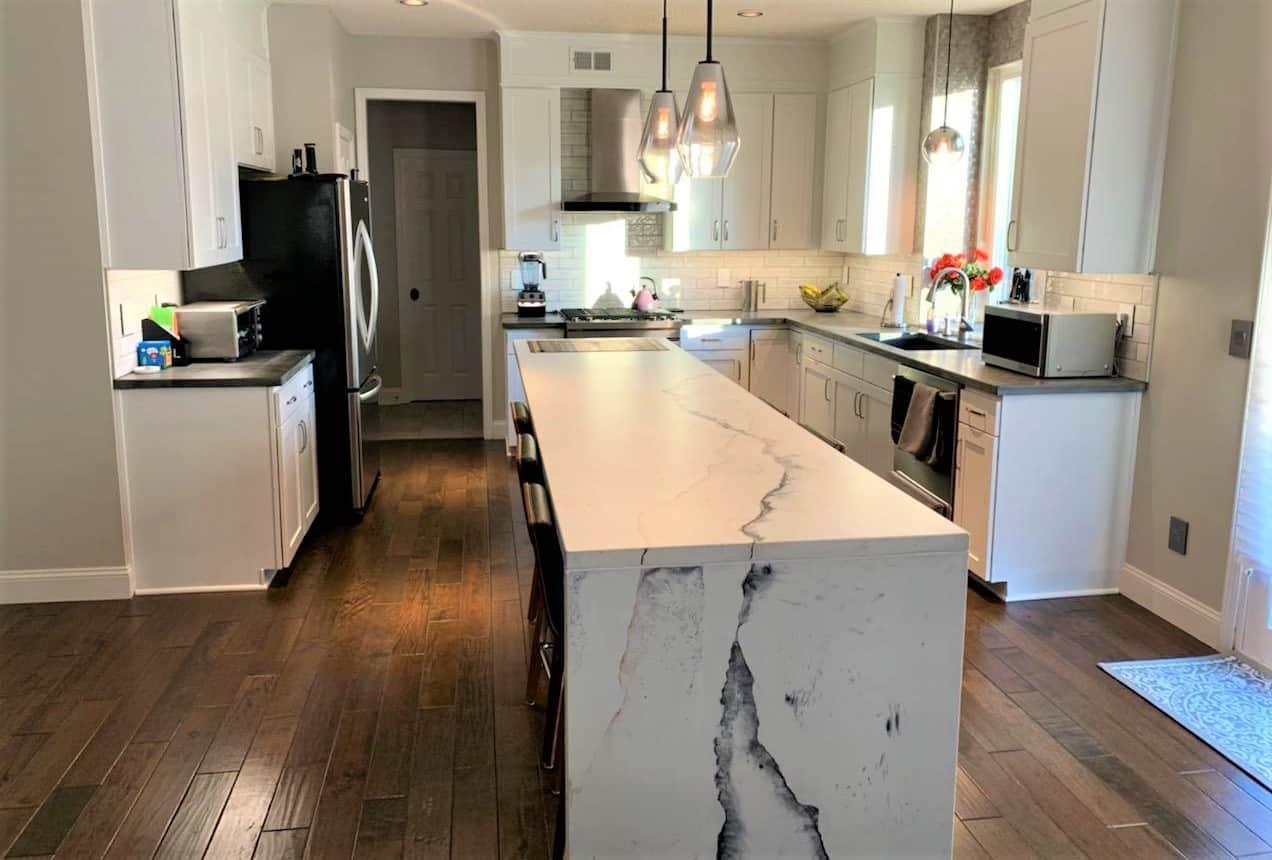 Limestone white, concrete counter top, in kitchen