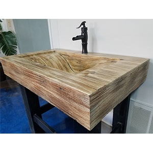 concrete sink bamboo
