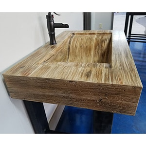concrete sink bamboo finish in bathroom