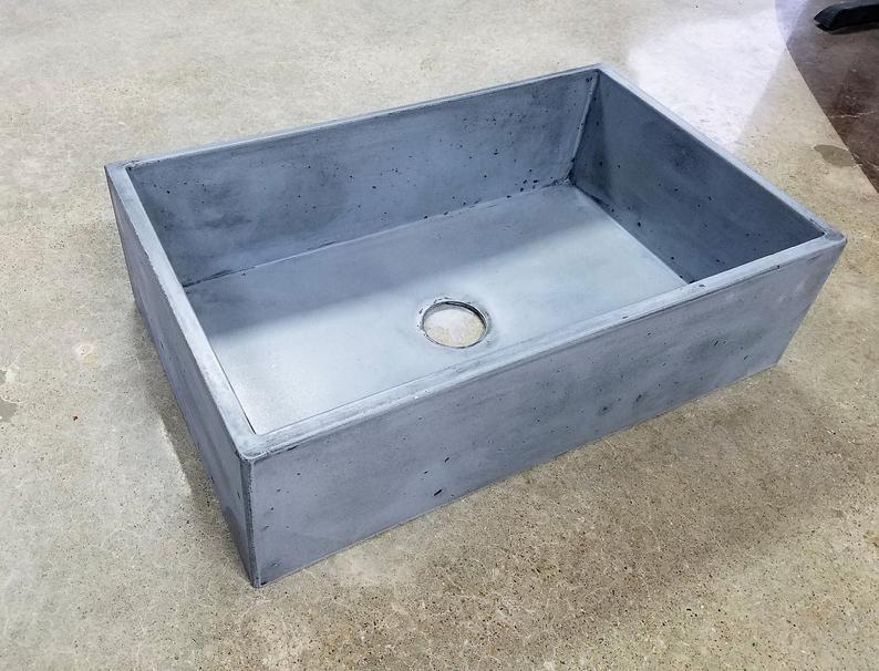 Apron Front Concrete Sink in shop