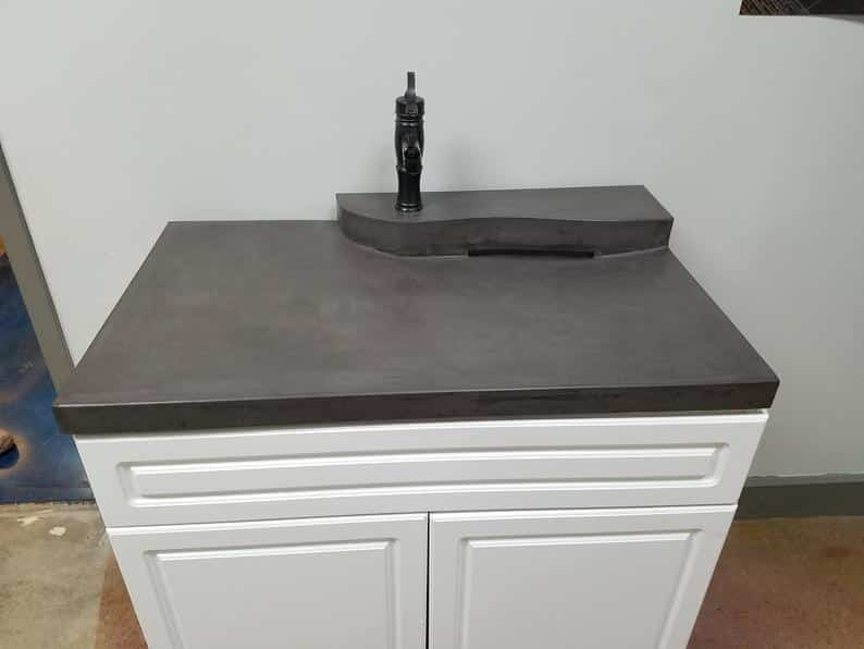 Battleship gray, 2 Tier Zero-Depth Concrete Vanity