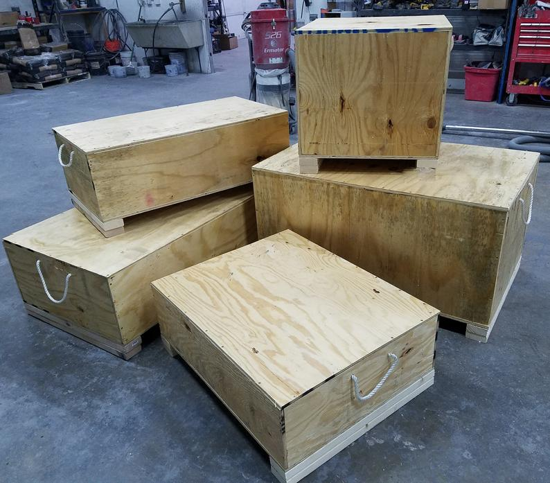 Concrete Sinks in wood boxes for transport
