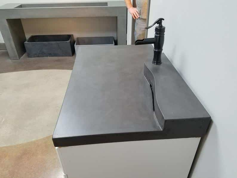 2 Tier Zero-Depth Concrete Vanity, battleship grey