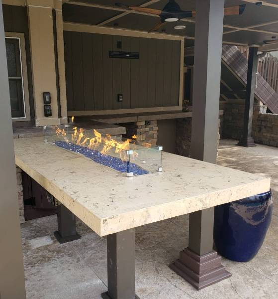 elevated concrete firepit