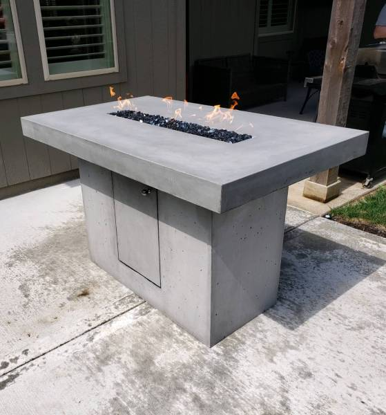 elevated outdoor concrete firepit