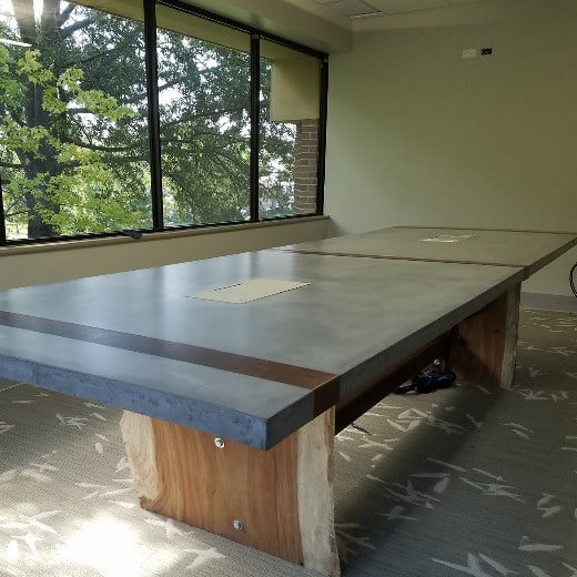 concrete conference table with wood base