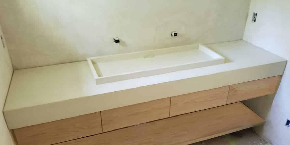 Limestone Shallow Trough Vessel Sink