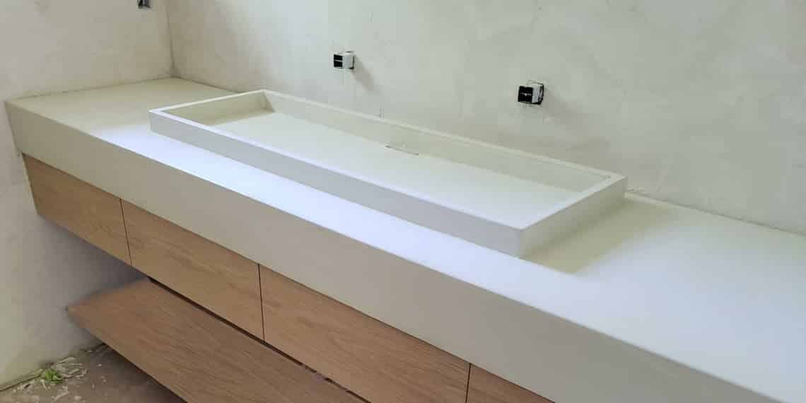 Shallow Trough Vessel Sink with Countertop